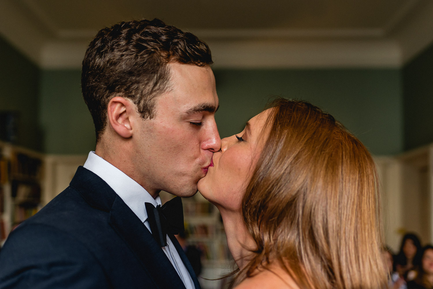 Bride & Groom first kiss at Asia House Wedding